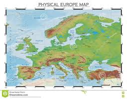 Physical Features Of Europe Map by Physical Europe Map Stock Vector Image 80886615