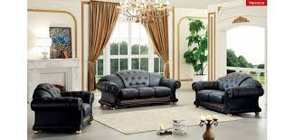 Italian Living Room Sets Versace Living Room Set In Black Italian Leather