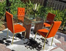 burnt orange 60s 70s retro dining table and chairs 425 00 via