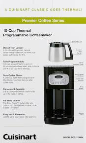 Coffee Maker With Grinder And Thermal Carafe Cuisinart 10 Cup Programmable Thermal Coffeemaker Black Dcc