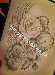 roses clock wing tattoo design by tattoosuzette on deviantart