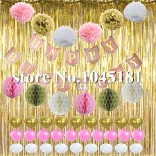Curtains With Pom Poms Decor 20set Decorations Happy Birthday Bunting Banner Gold Foil