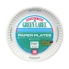 paper plates green label 9 in uncoated paper plates in white 1200 per