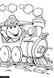 dinosaur barney train conductor coloring printable
