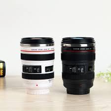 camera lens shape cup coffee tea travel mug stainless steel vacuum