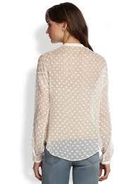 swiss dot blouse lyst chiffon oversized swiss dot blouse in