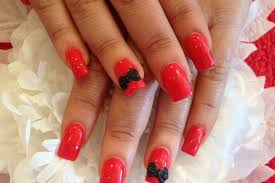 acrylic nails with pink polish black 3d acrylic bow nail designs