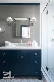 Gray Bathroom Vanity Navy Blue And Gray Bathroom Features Walls Clad In Grey Grasscloth