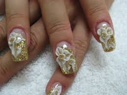 gold with 3d white flowers nail art gallery