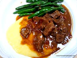 rustic beef stew with polenta and green beans kerry bakes