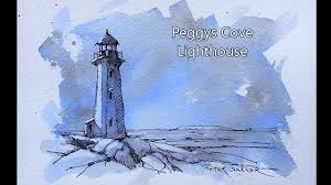 peggys cove lighthouse pen and ink sketch on tinted paper great