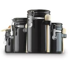 walmart kitchen canister sets anchor hocking 4 ceramic canister set black walmart com