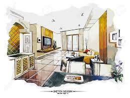 vector interior sketch design watercolor sketching idea on white