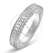 filigree wedding band antique style 4 2mm platinum men s wedding band with filigree and