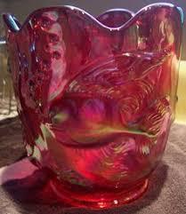 Milk Glass Vases Ebay Goofus Glass Vase Grape And Leaves Pattern Red Gold Iridescent