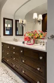 brown washstand with glass knobs transitional bathroom