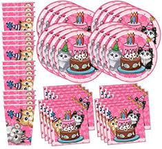party goods cat pink kitten birthday party supplies set
