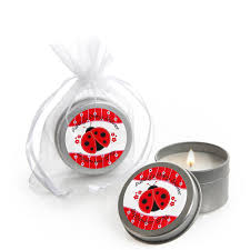 ladybug baby shower favors modern ladybug personalized baby shower candle tin favors