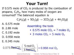 if 0 575 mole of co2 is produced by the combustion of propane