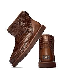 s ugg australia mini leather boots ugg woven leather mini boot in brown lyst