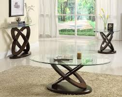 living room contemporary round glass top living room table set