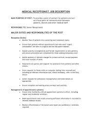 Resume Template For Receptionist 9 Nursing Home Receptionist Job Description Job Duties Assisted