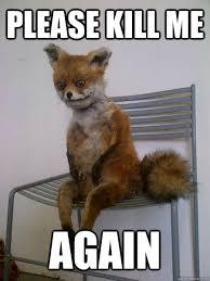 Kill Me Meme - please kill me again taxidermy the fox quickmeme