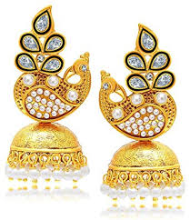stylish gold earrings buy youbella jewellery traditional stylish gold plated pearl fancy