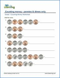 grade 1 math worksheet counting money dimes and pennies k5