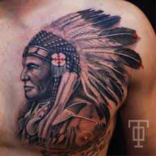 black ink indian chief on chest inspiration
