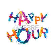 happy hour splash watercolor paint vector words royalty free