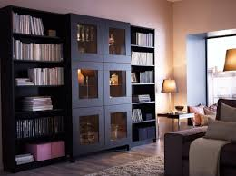 Ikea Billy Bookcase Medium Brown Bestå Cabinet With Tempered Glass Doors And Billy Bookcases All In