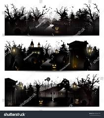 vector set three halloween black silhouettes stock vector