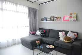 living room pink floating shelves wall decor cute sofa hardwood
