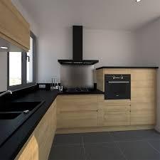 cuisine bois design cuisine moderne avec façades en bois sans poignée système de