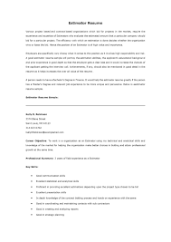 Sample Resume Construction by Estimator Sample Resumes Day Camp Director Cover Letter To Do