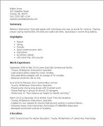 Higher Education Resume Samples by Professional Behavior Intervention Specialist Templates To
