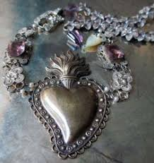 sacred heart jewelry hearts hearts antique silver corazon milagros necklace