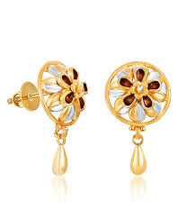 real gold earrings karatcraft sumavali earring 22kt real gold bis hallmark jewellery