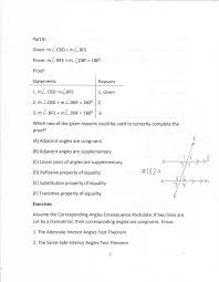 Same Side Interior Angles Definition Geometry Geometry Common Core Style Parcc Practice Test Question 30 Day 175