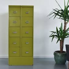 Yellow Filing Cabinet Uk Vintage Metal Avocado Green 10 Drawer Filing Cabinet By Sankey