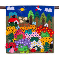 cheerful applique arpilleria wall hanging from peru harvesting