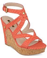 guess women u0027s harlee cork platform wedge sandals in orange lyst