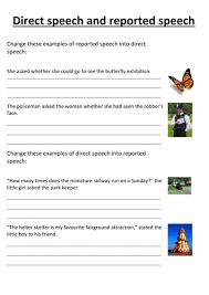 direct speech reported speech worksheet by n neil w teaching