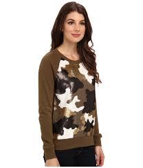 Gold Sequin Cardigan Michael Michael Kors Ls Raglan Camo Sequin Sweater In Metallic Lyst