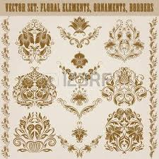 set of gold damask ornaments floral elements ornate borders
