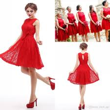 real image red short bridesmaid dresses under 50 jewel hollow and