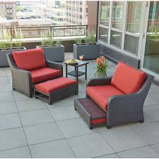 hampton bay sauntera 5 piece wicker patio seating set with red