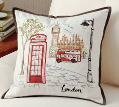 theme pillows london embroidered pillow cover pottery barn