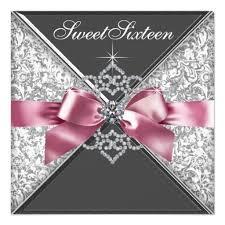 sweet 16 invitations white diamonds pink black sweet 16 birthday party invitation